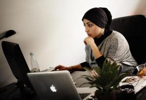 Maryam Al-Khwaja at work in her office in Copenhagen, Denmark. Photo credit:  Ditte Lysgaard Holm